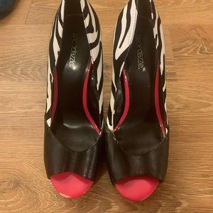 Shoe Dazzle zebra print stilettos